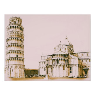 The Baptistry of St John and Leaning Tower Of Pisa Poster