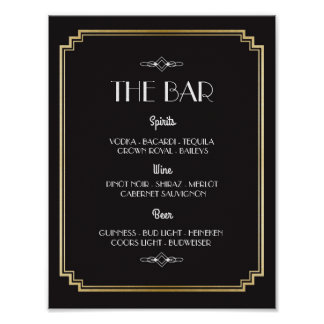 The Bar 1920's Art Deco Sign Wedding Reception