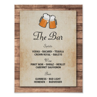 The Bar Cheers Beers Event Sign Wedding Reception