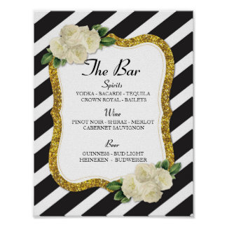The Bar Event Sign Stripe Gold Wedding Reception