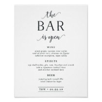 The Bar Is Open | Wedding Bar Menu Sign