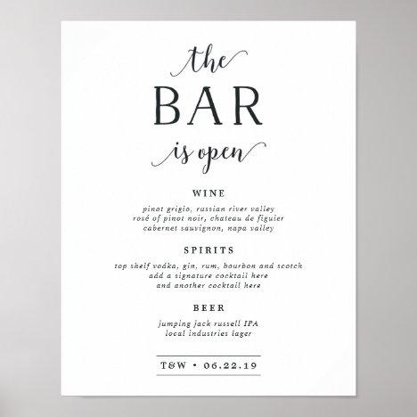 The Bar Is Open | Wedding Bar Menu Sign