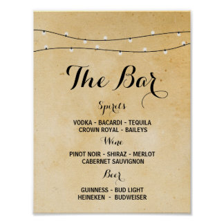 The Bar Rustic Lights Event Sign Wedding Reception
