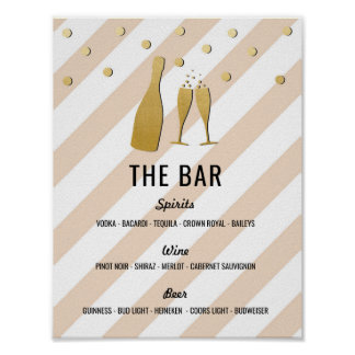 The Bar Stripe Champagne Sign Cream Reception