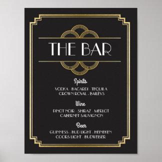 The Bar Twenties Art Deco Sign Wedding Reception Poster