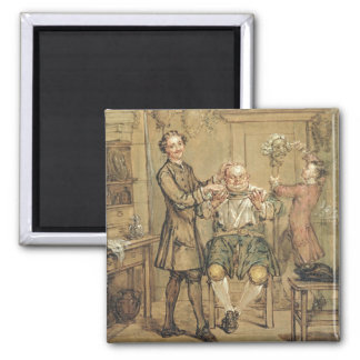 The Barber, c.1760-69 (oil on canvas) 2 Inch Square Magnet