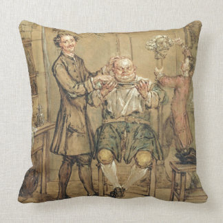 The Barber, c.1760-69 (oil on canvas) Pillow