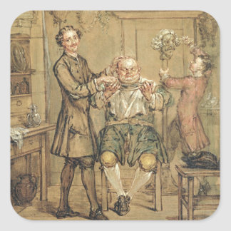 The Barber, c.1760-69 (oil on canvas) Square Sticker