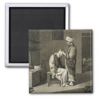 The Barber, from Volume II Arts and Trades of 'Des 2 Inch Square Magnet