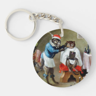 The Barber Monkey (detail) Double-Sided Round Acrylic Keychain