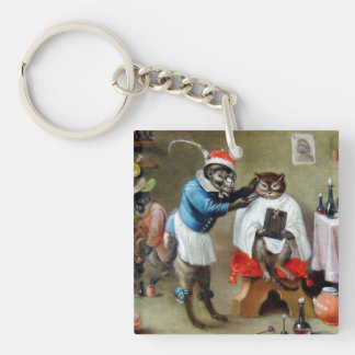 The Barber Monkey Double-Sided Square Acrylic Keychain