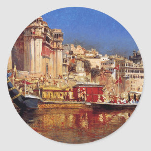 The Barge Of The Maharaja Of Benares by Edwin Lord Classic Round Sticker