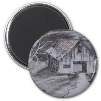 THE BARN folk art country painting drawing 2 Inch Round Magnet