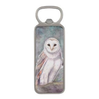 The Barn Owl Wildlife Watercolor Art Magnetic Bottle Opener