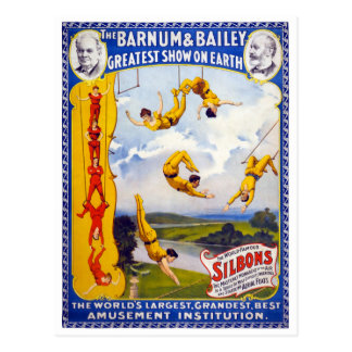 The Barnum & Bailey 1896 Vintage Poster Restored Postcard