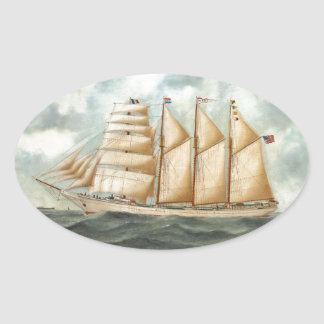 The Barquentine HERDIS of the American Star Line Oval Sticker