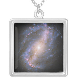 The Barred Spiral Galaxy NGC 6217 Silver Plated Necklace