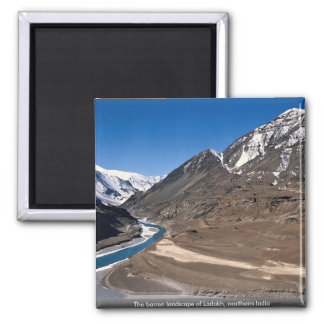 The barren landscape of Ladakh, northern India Fridge Magnet