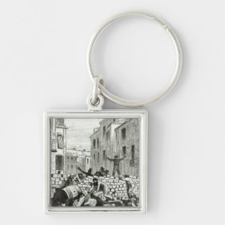 The Barricade Silver-Colored Square Keychain
