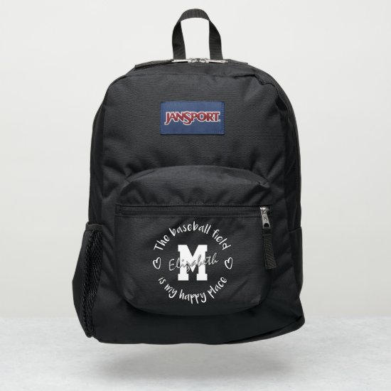 The baseball field is my happy place custom JanSport backpack