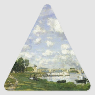 The Basin at Argenteuil - Claude Monet Triangle Sticker