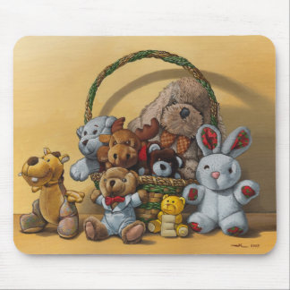 The basket of cuddly toys mouse pad