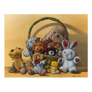 The basket of cuddly toys postcard