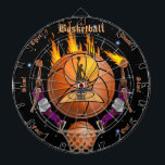 "The Basketball Fiery Slam Dunk Dartboard<br><div class=""desc"">A fun basketball inspired dartboard! Perfect for the basketball or sports fanatic of the family and fully customizable to add names,  images,  and more if desired. Enjoy!</div>"