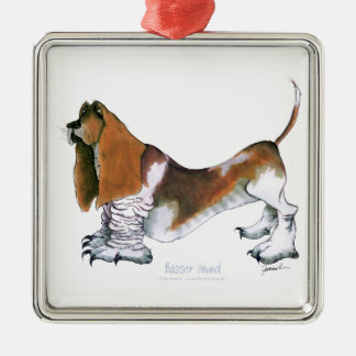 the basset hound, tony fernandes metal ornament