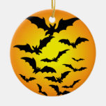 The bat of Halloween - Double-Sided Ceramic Round Christmas Ornament