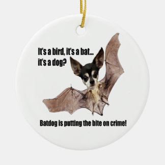 The Batdog is Taking a Bite Out of Crime Christmas Tree Ornaments