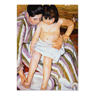 The Bath by Mary Cassatt mother bathing child art 5x7 Paper Invitation Card