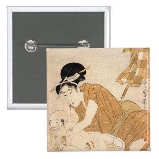 The Bath, Edo period Pinback Button