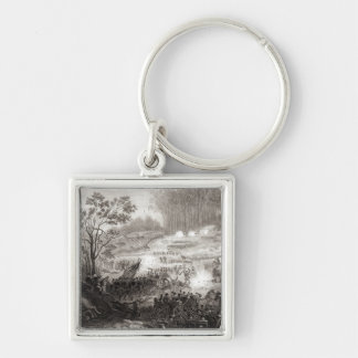 The Battle at Pittsburg Landing Silver-Colored Square Keychain