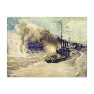 The battle between the Black Sea Fleet and Canvas Print