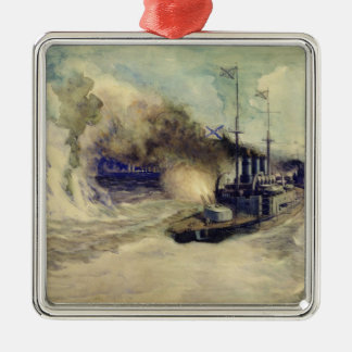 The battle between the Black Sea Fleet and Square Metal Christmas Ornament