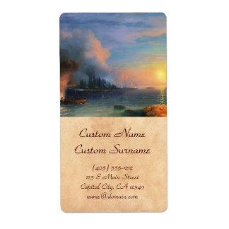 The Battle of Bomarsund Ivan Aivazovsky seascape Shipping Label