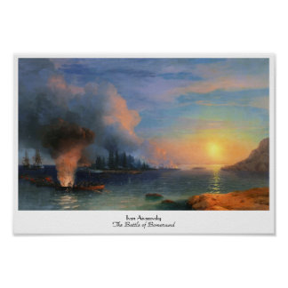 The Battle of Bomarsund Ivan Aivazovsky seascape Poster