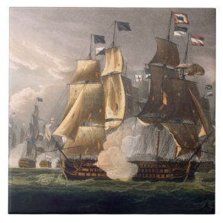 The Battle of Cape St. Vincent, February 14th 1797 Large Square Tile