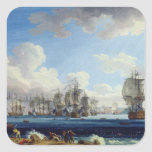 The Battle of Chesma on the 5th July 1770 Square Stickers