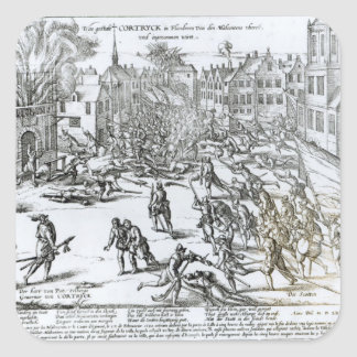 The Battle of Courtrai Between the French Square Sticker