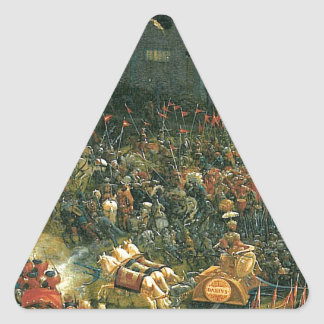 The battle of Issus(fragment) by Albrecht Altdorfe Triangle Sticker