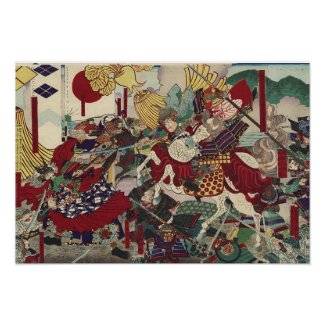 The Battle of Kawanakajima by Yoshitora Poster