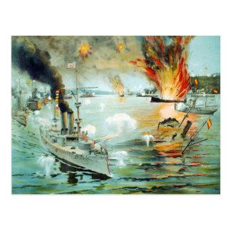 The Battle of Manila Bay Spanish American War Postcard
