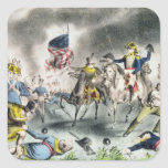 The Battle of New Orleans, pub.Nathaniel Currier Square Stickers