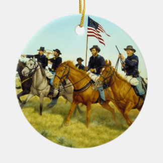 The Battle of Prairie Dog Creek by Ralph Heinz Ceramic Ornament