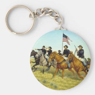 The Battle of Prairie Dog Creek by Ralph Heinz Basic Round Button Keychain