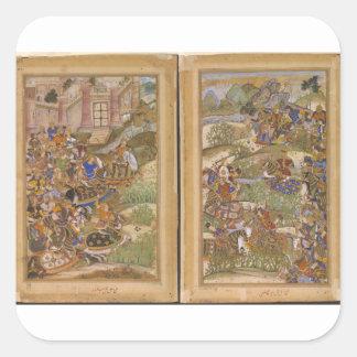The Battle of Sarnal Gujarat 1572 from Akbarnama Square Sticker