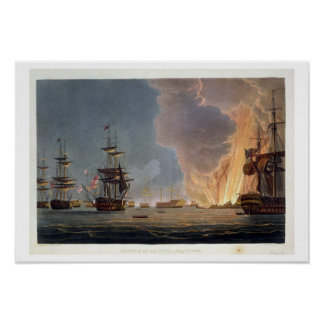 The Battle of the Nile, 1st August 1798, engraved Poster