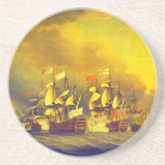 The Battle of the Saintes by Thomas Mitchell 1782 Beverage Coaster